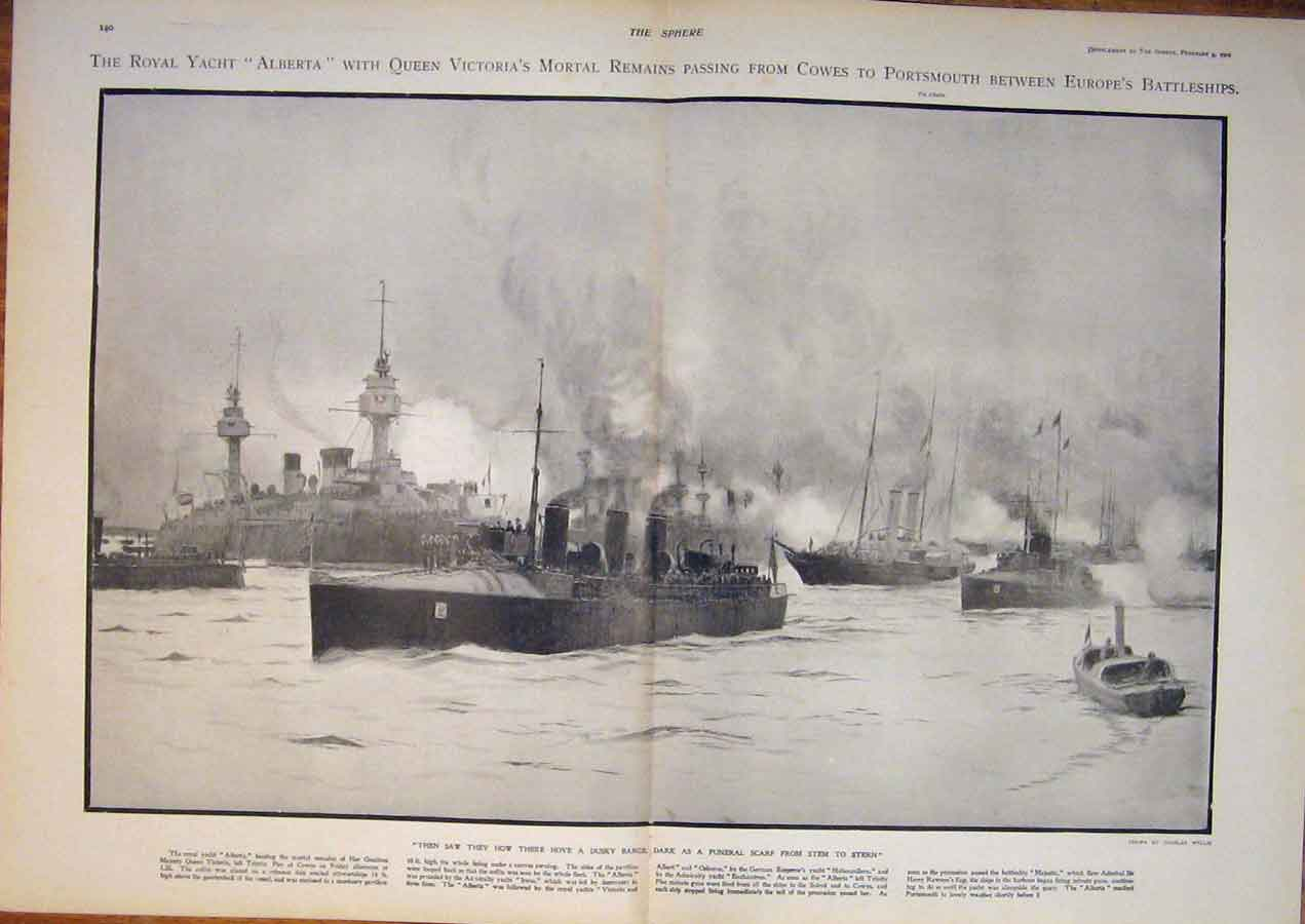 [Print Royal Yacht Alberta Victoria Cowes Battleships 1901 39T5400 Old Original]