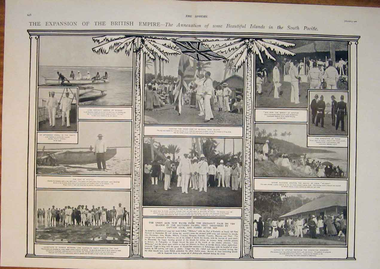 [Print British Empire South Pacific Islands Tonga 1901 45T5400 Old Original]