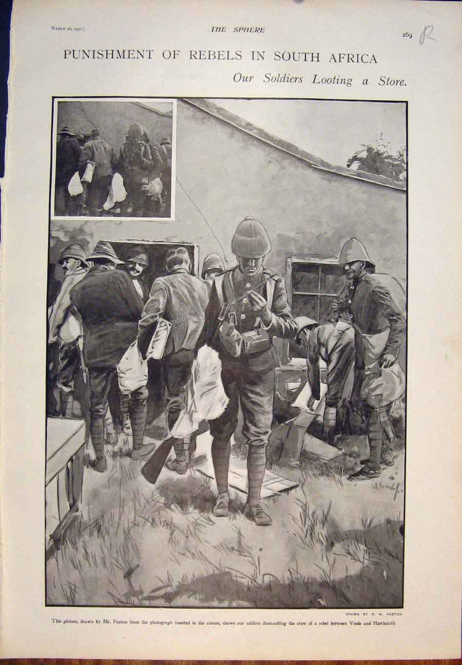[Print Vrede Harrismith South Africa Paxton Rebel Soldier 1901 69R5400 Old Original]