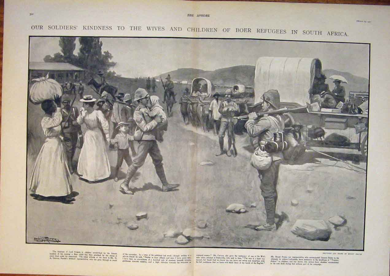 [Print South Africa War Boer Refugees Roberts Soldiers Gwynne 99T5400 Old Original]