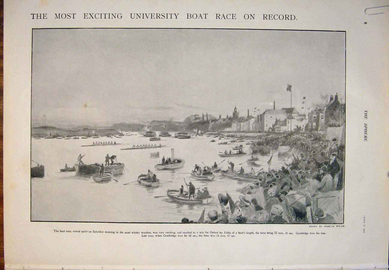 [Print Boat Race University Oxford Cambridge 1901 Crew 21A5400 Old Original]