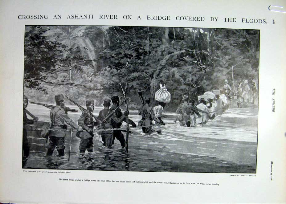 [Print Fighting In Ashanti & Flooded River Africa 1900 16A5401 Old Original]