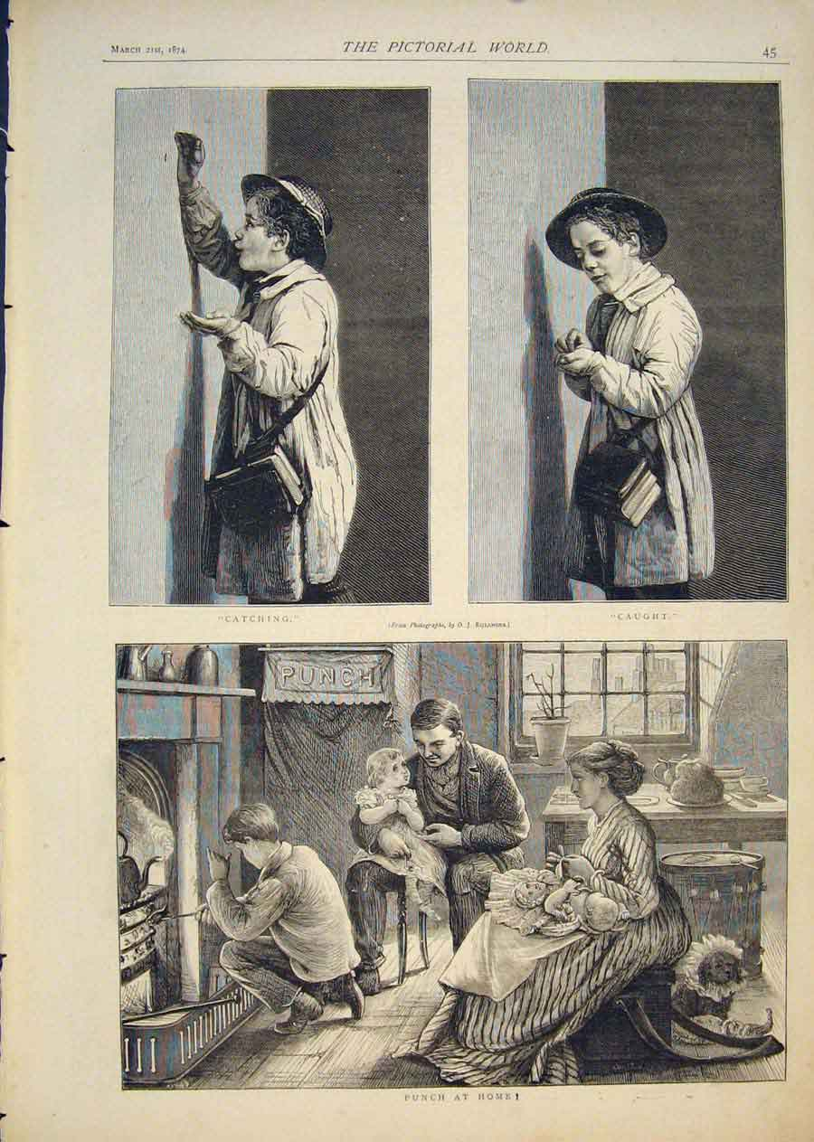 [Print Punch At Home Child Catching Caught Fine Art 1874 455411 Old Original]