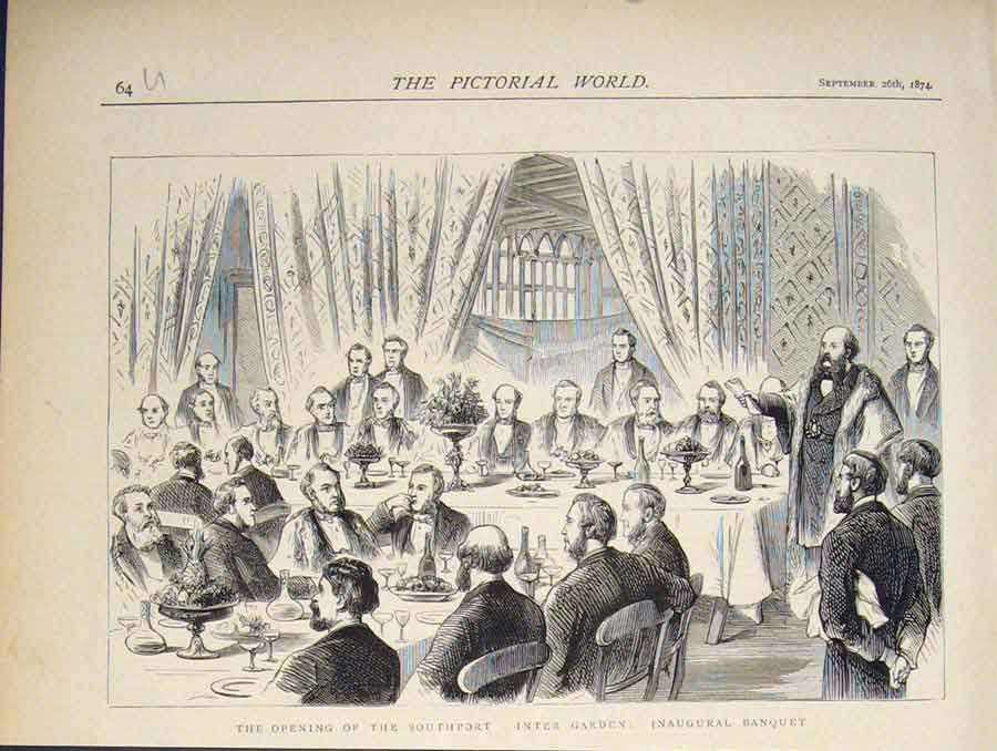 [Print Southport Winter Garden Banquet 1874 64U5411 Old Original]