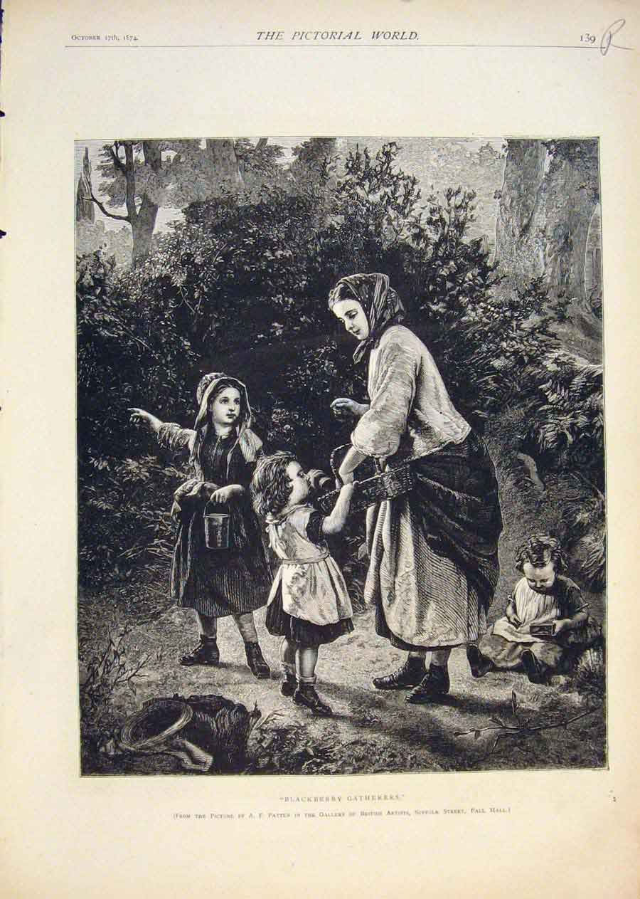 [Print Blackberry Gatherers Patten Seal Hunting Hunt 1874 39R5411 Old Original]