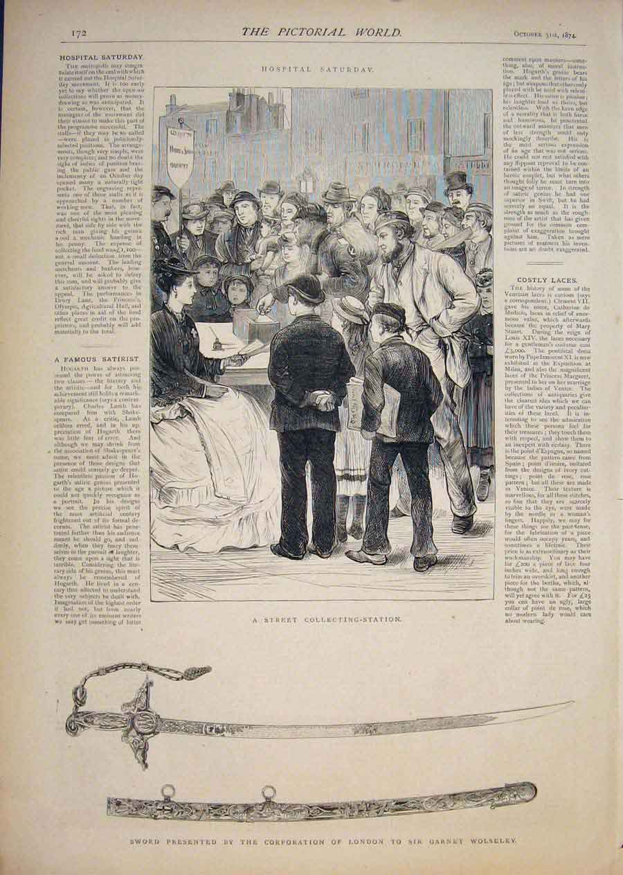 [Print Street Collecting Station Hospital Sword Wolseley 1874 725411 Old Original]