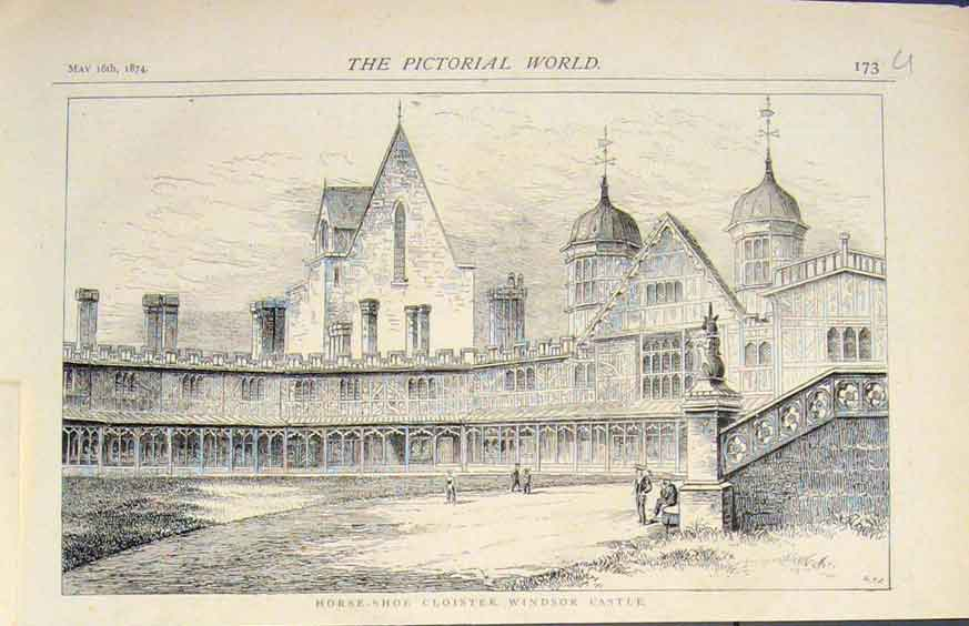 [Print Horse Shoe Cloister Windsor Castle 1874 73U5411 Old Original]