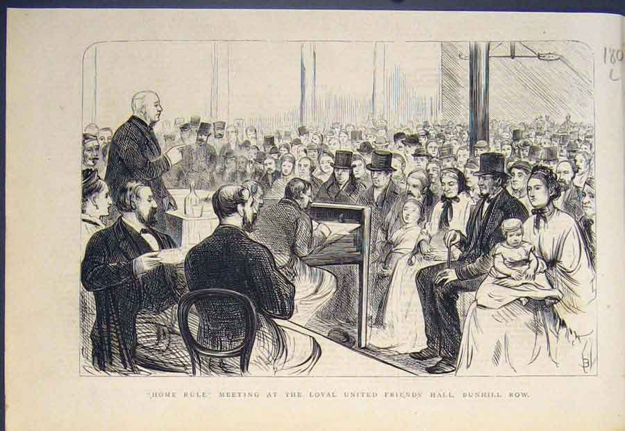 [Print Bunhill Row United Friends Hall Home Rule Meeting 1874 80L5411 Old Original]