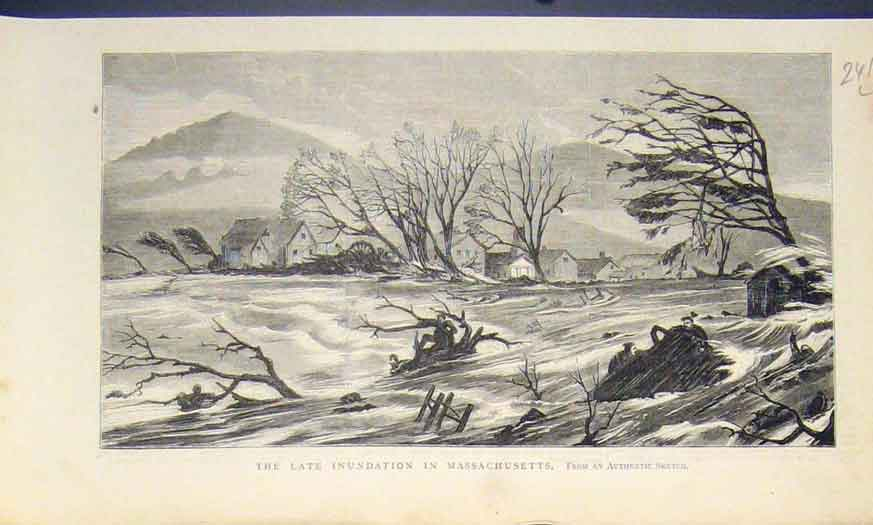 [Print Massachusetts America River Floods 1874 41L5411 Old Original]