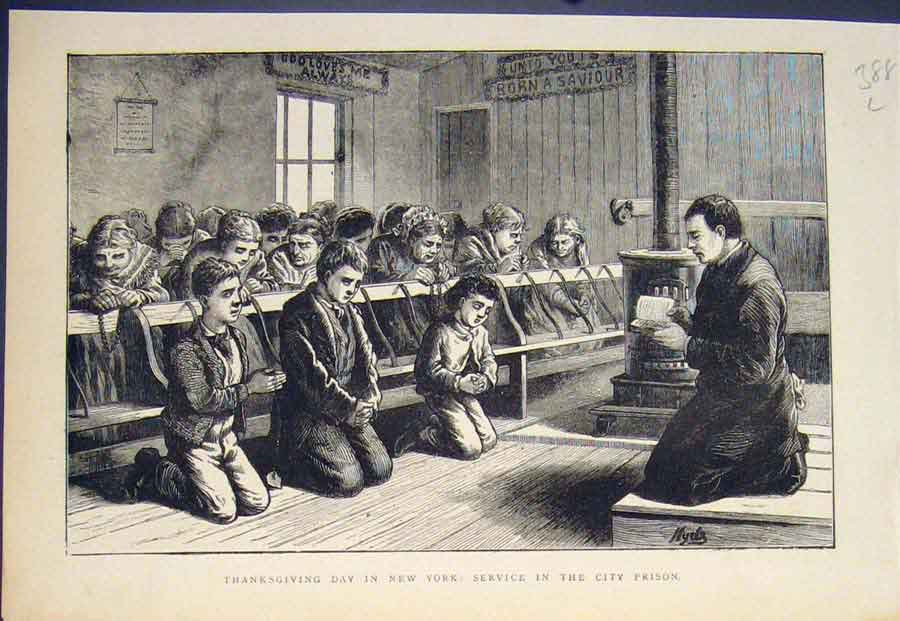 [Print Thanksgiving Day New York Service City Prison Usa 1874 88L5411 Old Original]
