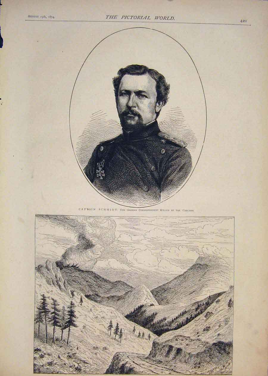 [Print Portrait Captain Schmidt Forest Fire Colorado America 215411 Old Original]