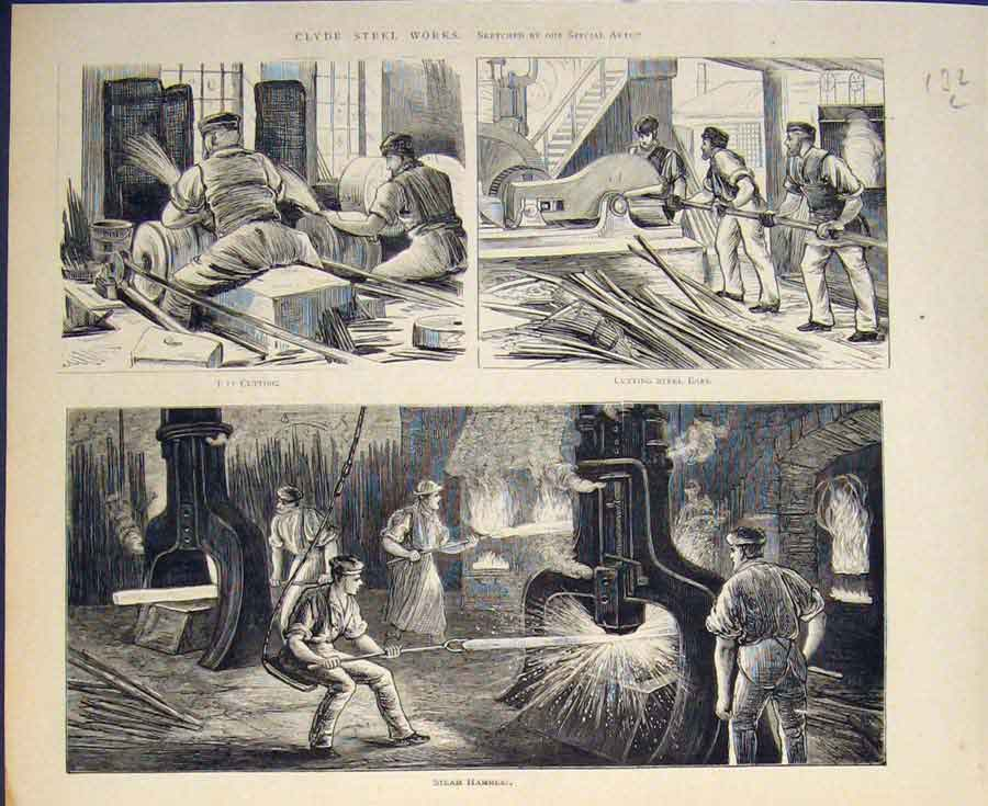 [Print Clyde Steel Works Hammer 1874 32L5411 Old Original]