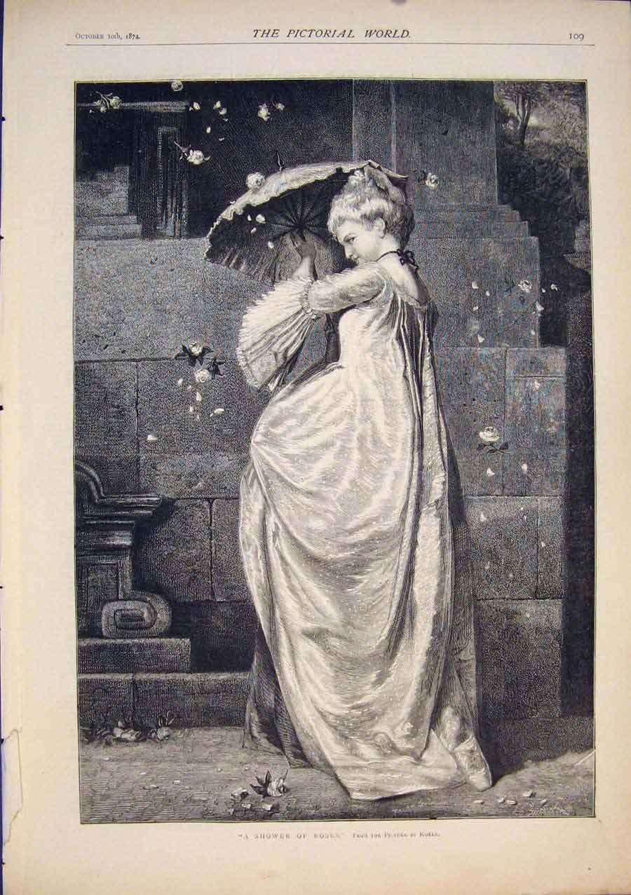 [Print Shower Roses Korle Lady Rose Fine Art 1874 095411 Old Original]