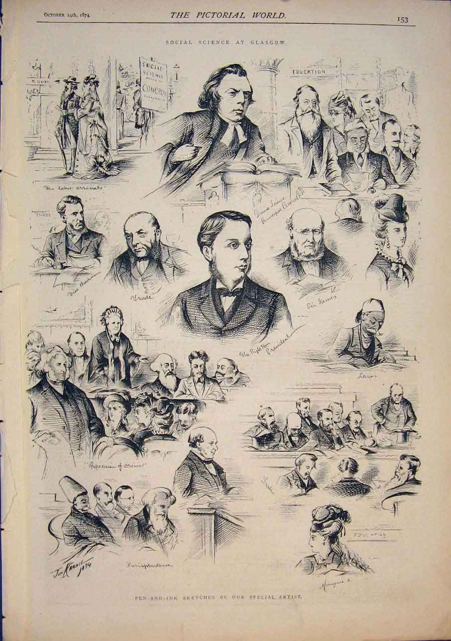 [Print Sketches Social Science Glasgow Scotland 1874 535411 Old Original]