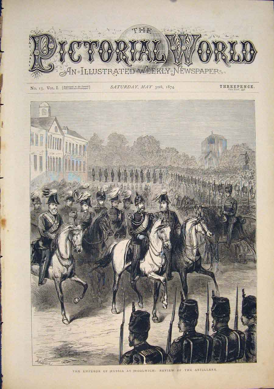 [Print Woolwich London Emperor Russia Review Artillery 1874 945411 Old Original]