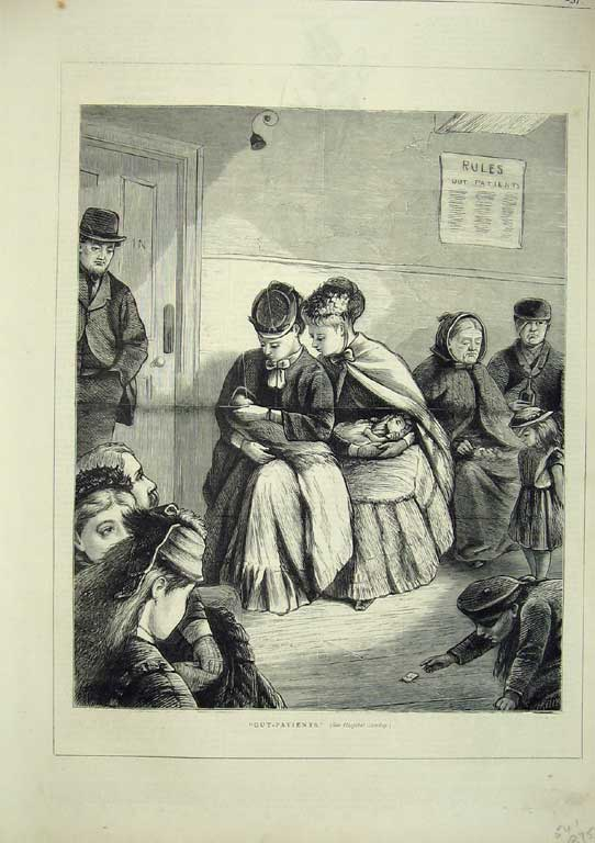 [Print Out-Patients Patient Patients Hospital 1874 375411 Old Original]