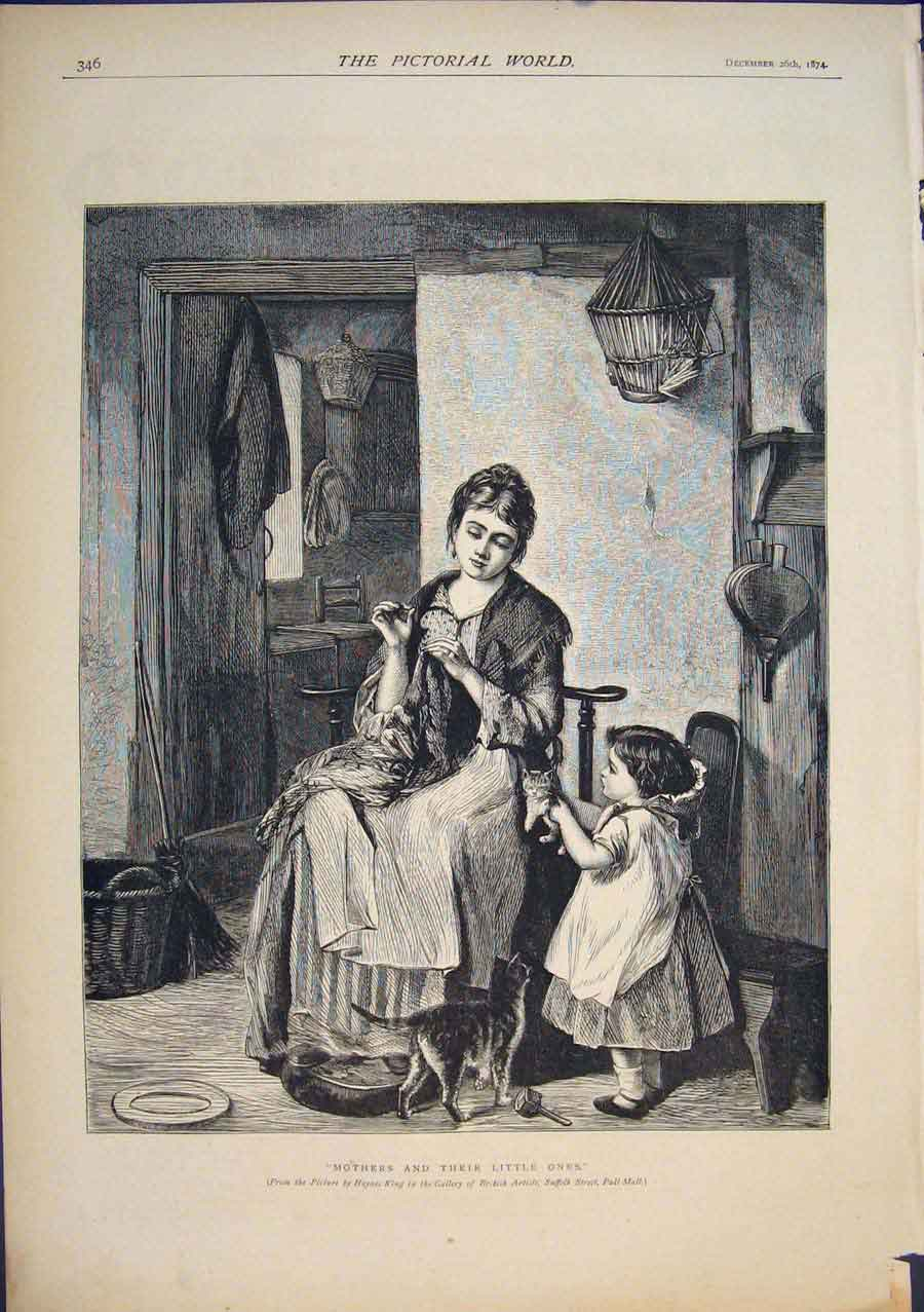 [Print Mother Child Cat Kittens Haynes King Fine Art 1874 465411 Old Original]