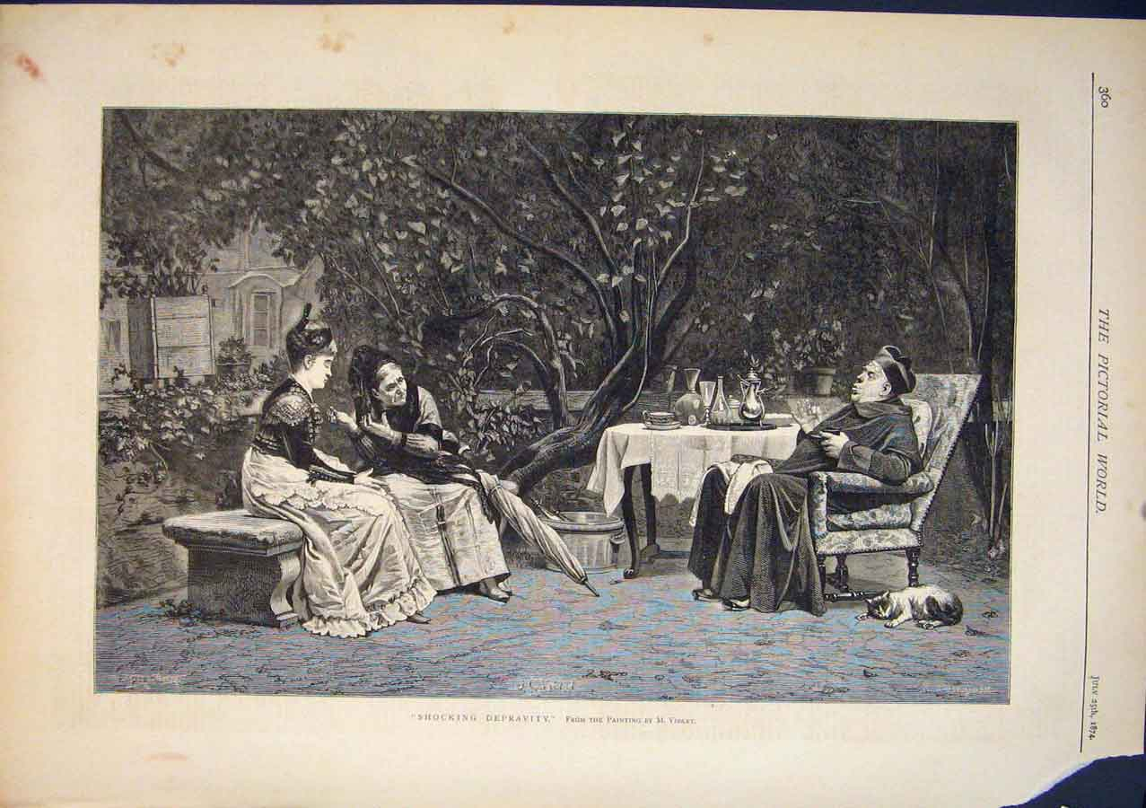 [Print Shocking Depravity Vibert Garden Fine Art 1874 605411 Old Original]