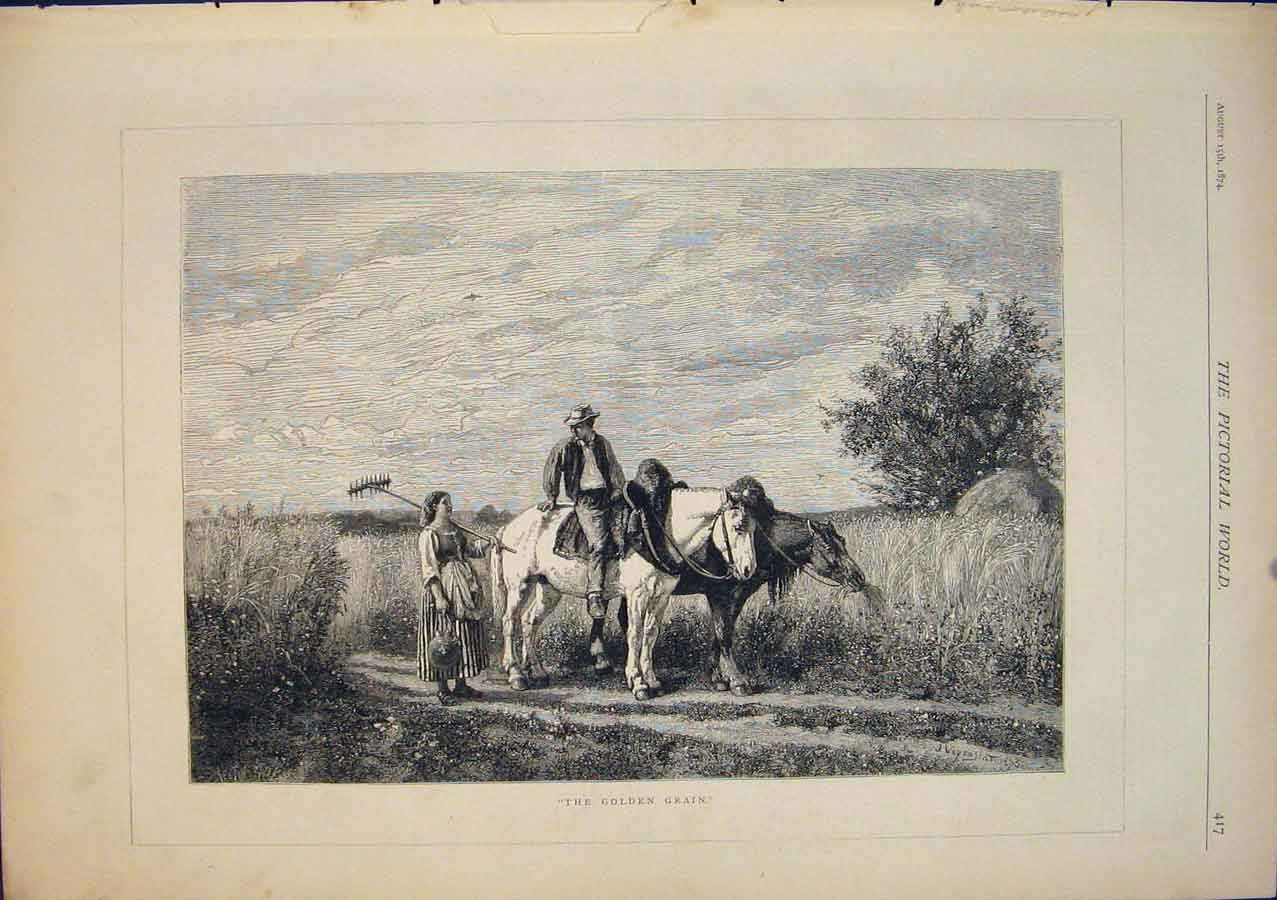 [Print The Golden Grain Horses Fine Art 1874 175411 Old Original]