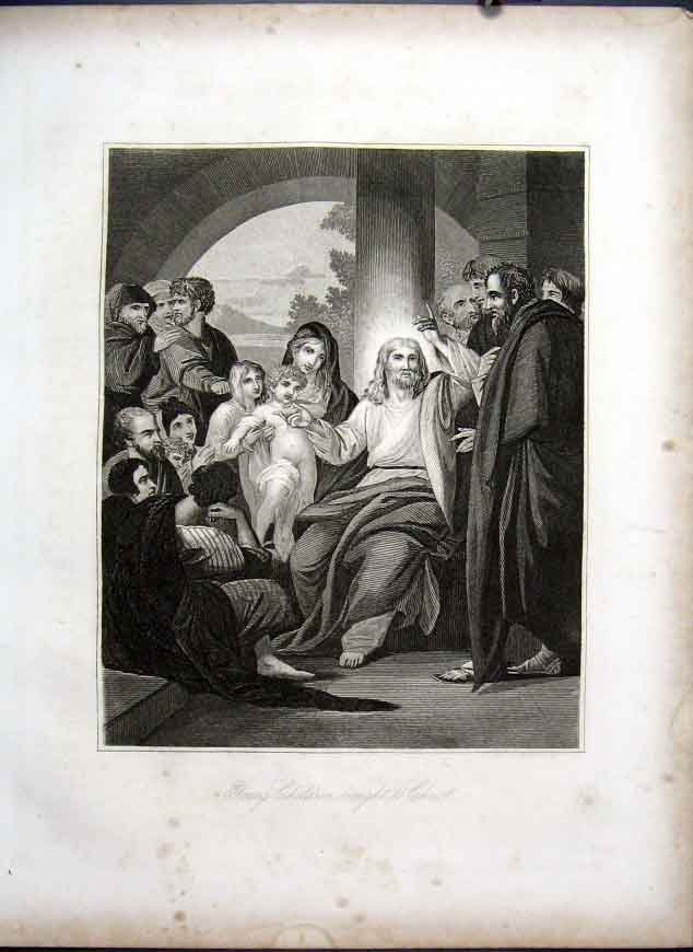 [Print Children Brought To Christ Life Jesus Christ 1863 135501 Old Original]