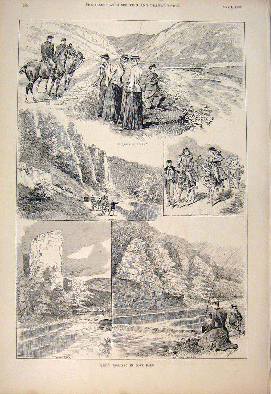 [Print Trouting Trout Fishing Dove Dale River Ilam Rock 1892 825600 Old Original]