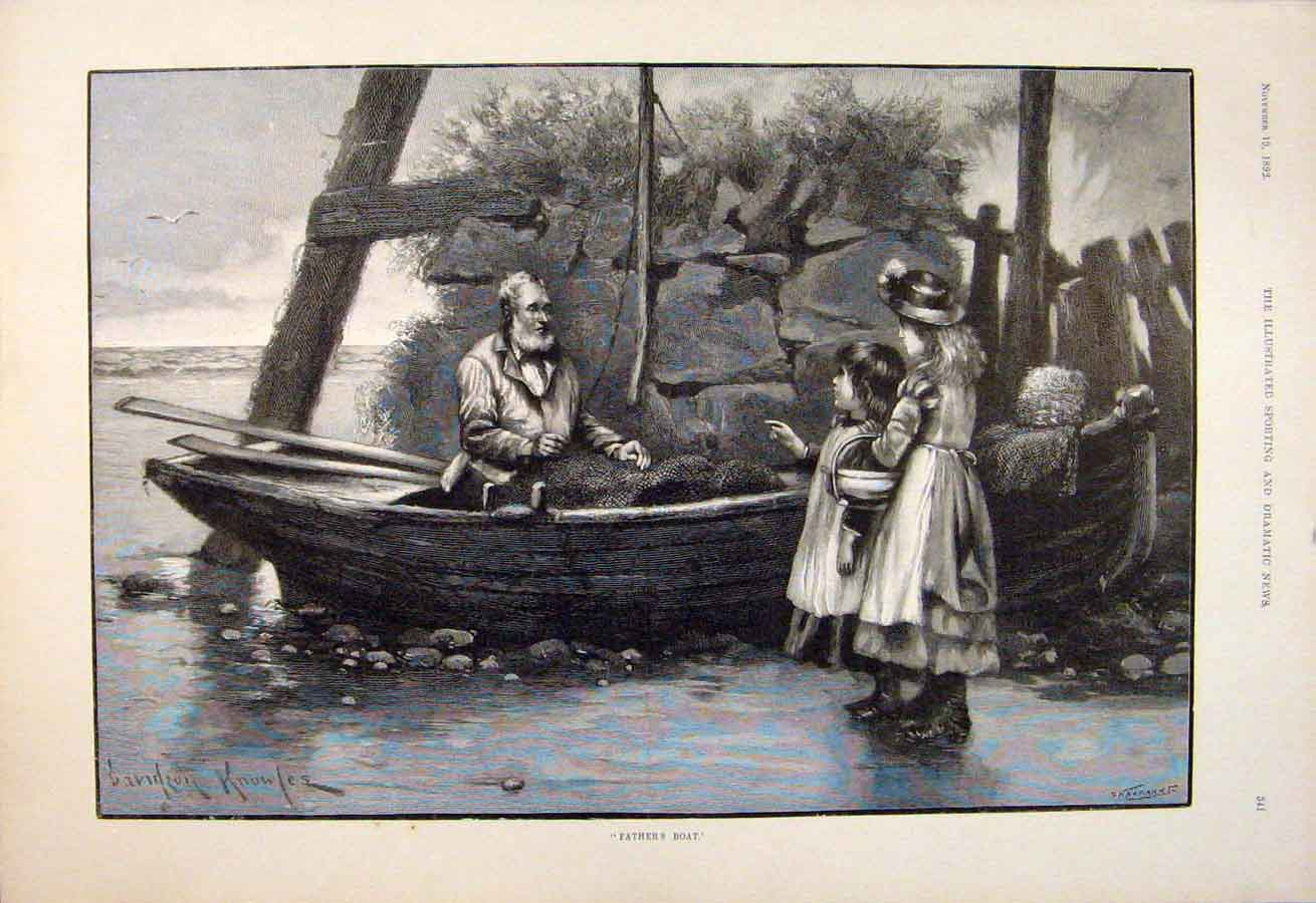 [Print Father'S Boat Knowles Children Fine Art 1892 415600 Old Original]