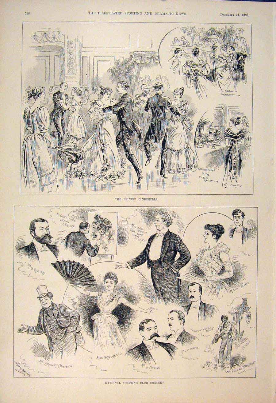 [Print National Sporting Club Concert Cinderella Theatre 1892 165600 Old Original]
