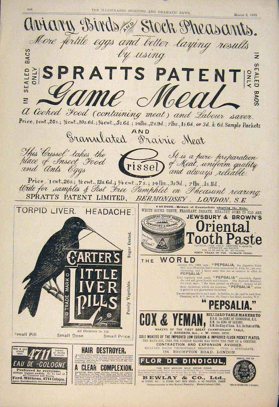 [Print Advert Spratts Patent Game Meal Carter'S Liver Pills 485600 Old Original]
