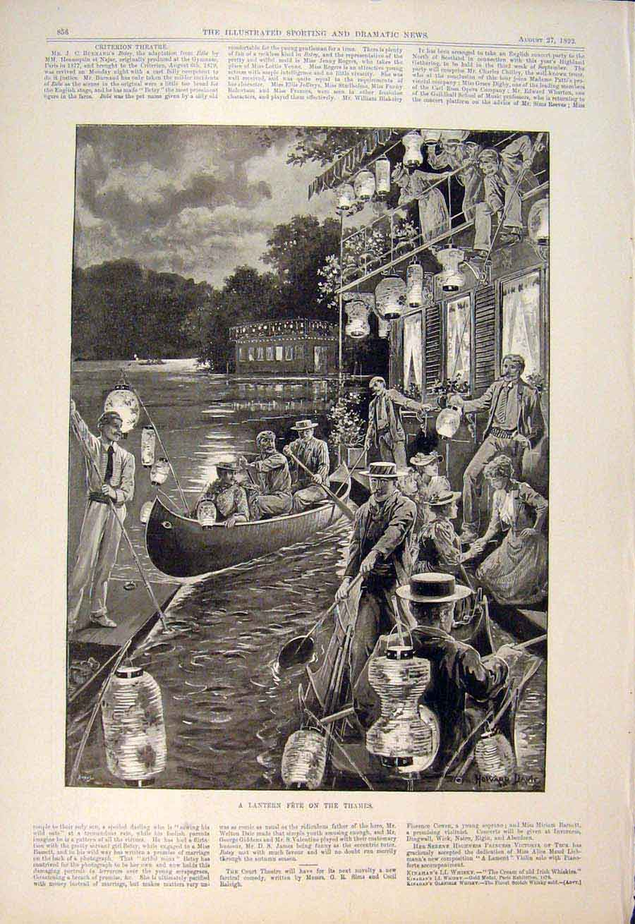 [Print Lantern Fete Thames River London Boat Lanterns 1892 565600 Old Original]