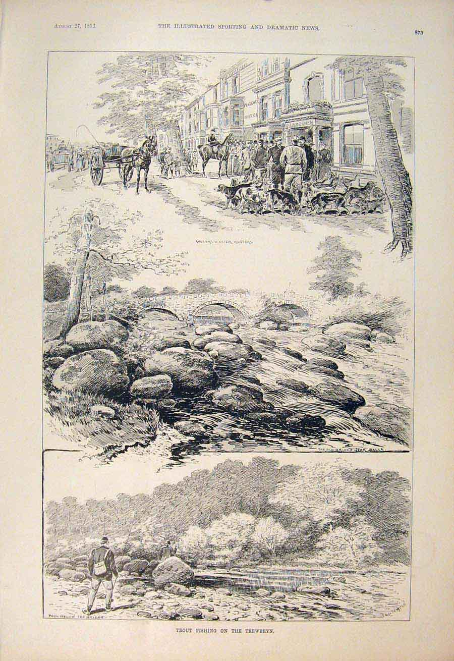 [Print Trout Fishing Treweryn Wales Balla Otter Hunt Anglers 735600 Old Original]