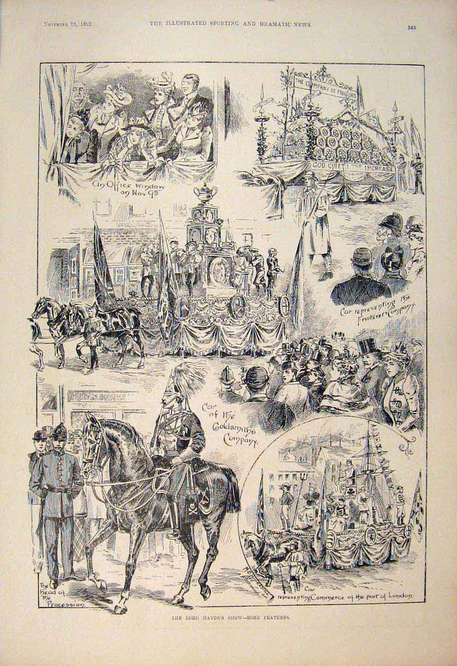 [Print Lord Mayor'S Show London Goldsmith Fruiters 1892 455600 Old Original]