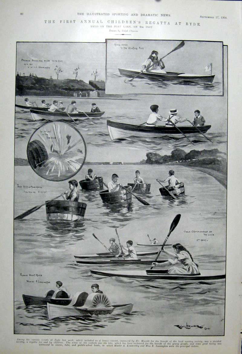 [Print First Annual Childrens Regatta At Ryde 1904 805601 Old Original]