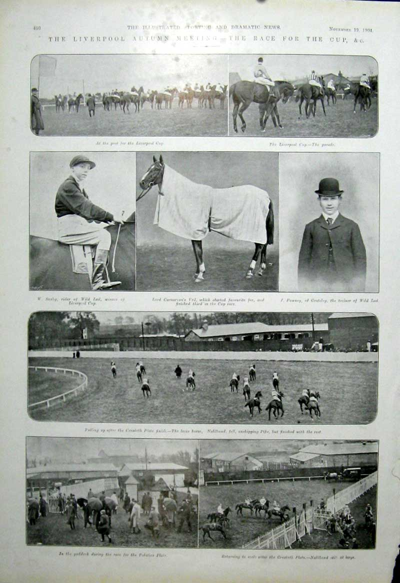 [Print Liverpool Autumn Horse Race 1904 505601 Old Original]