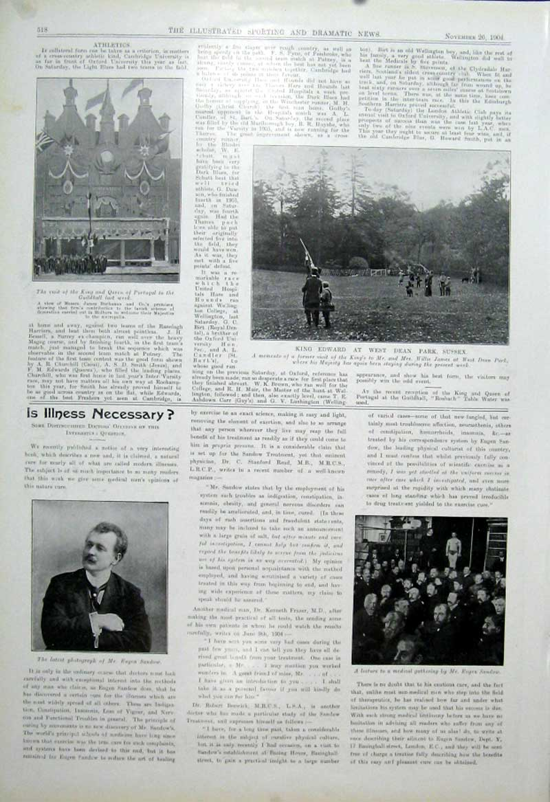 [Print King Edward Shooting West Dean Park Sussex 1904 185601 Old Original]