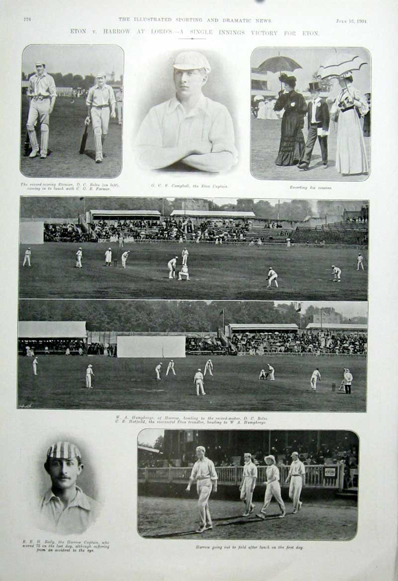 [Print Cricket Eton V Harow Lords 1904 Single Inning Victory 765601 Old Original]