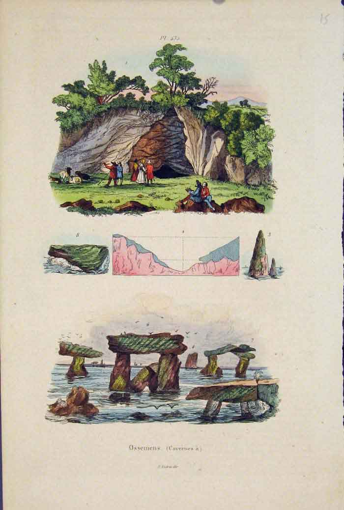 [Print Rock Formation People Water Fine Art 115671 Old Original]
