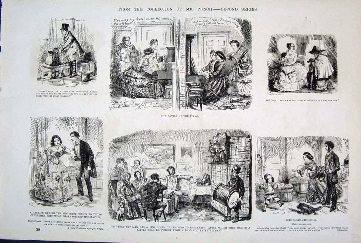 [Print  Life & Character By John Leech Mr Punch 395701 Old Original]