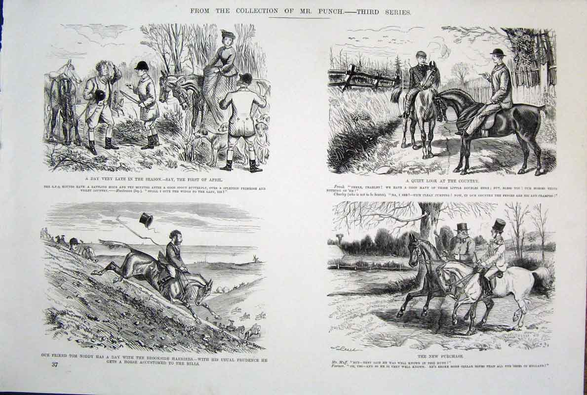 [Print  Life & Character By John Leech Mr Punch *4 Ref.2 375701 Old Original]