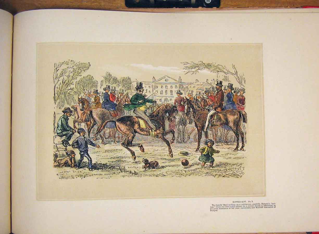 [Print Horse People Games Family Children Park Hand Colored 365711 Old Original]