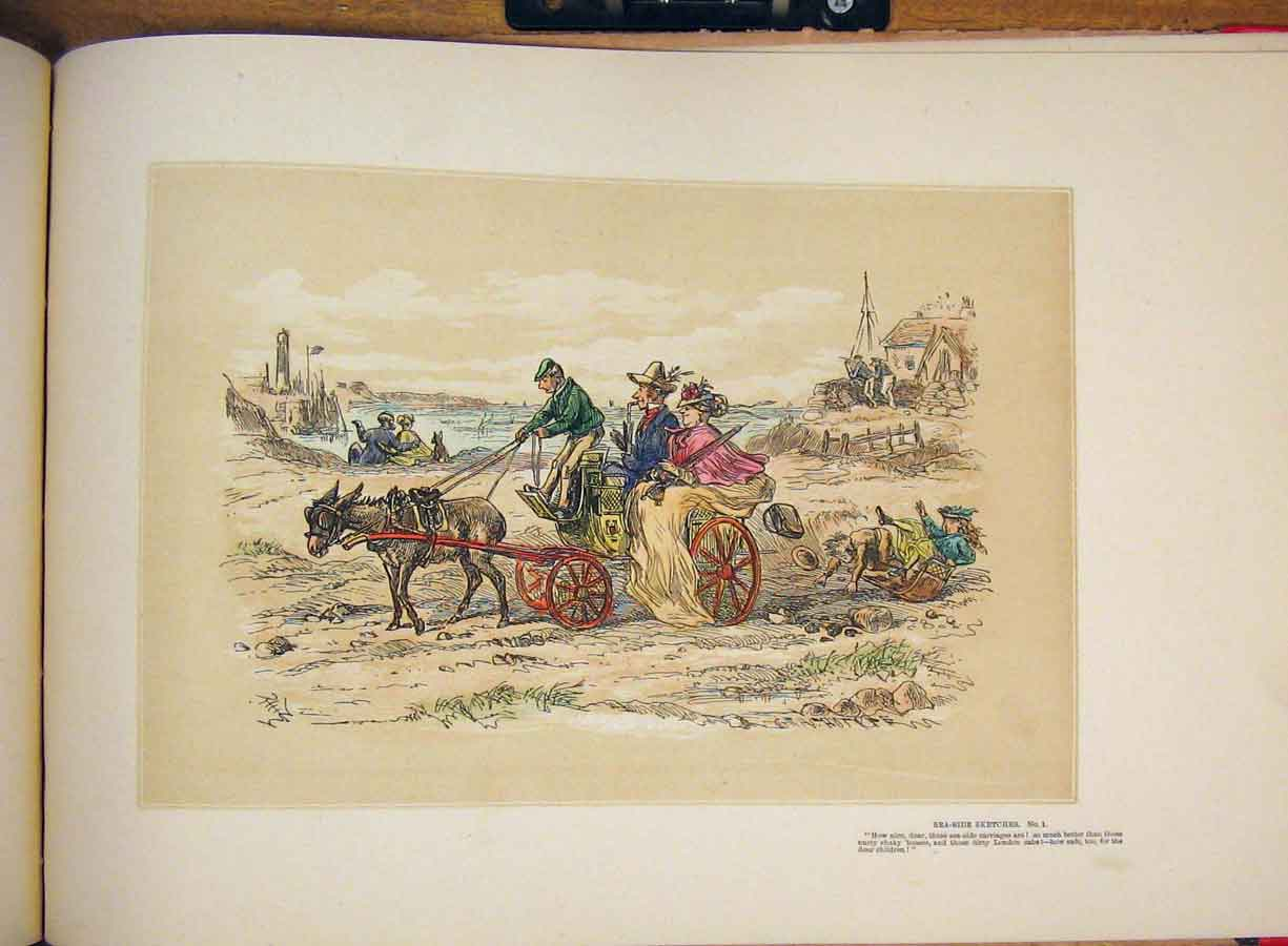 [Print Carriage Donkey Sea Side Drawing Family Hand Color Art 395711 Old Original]