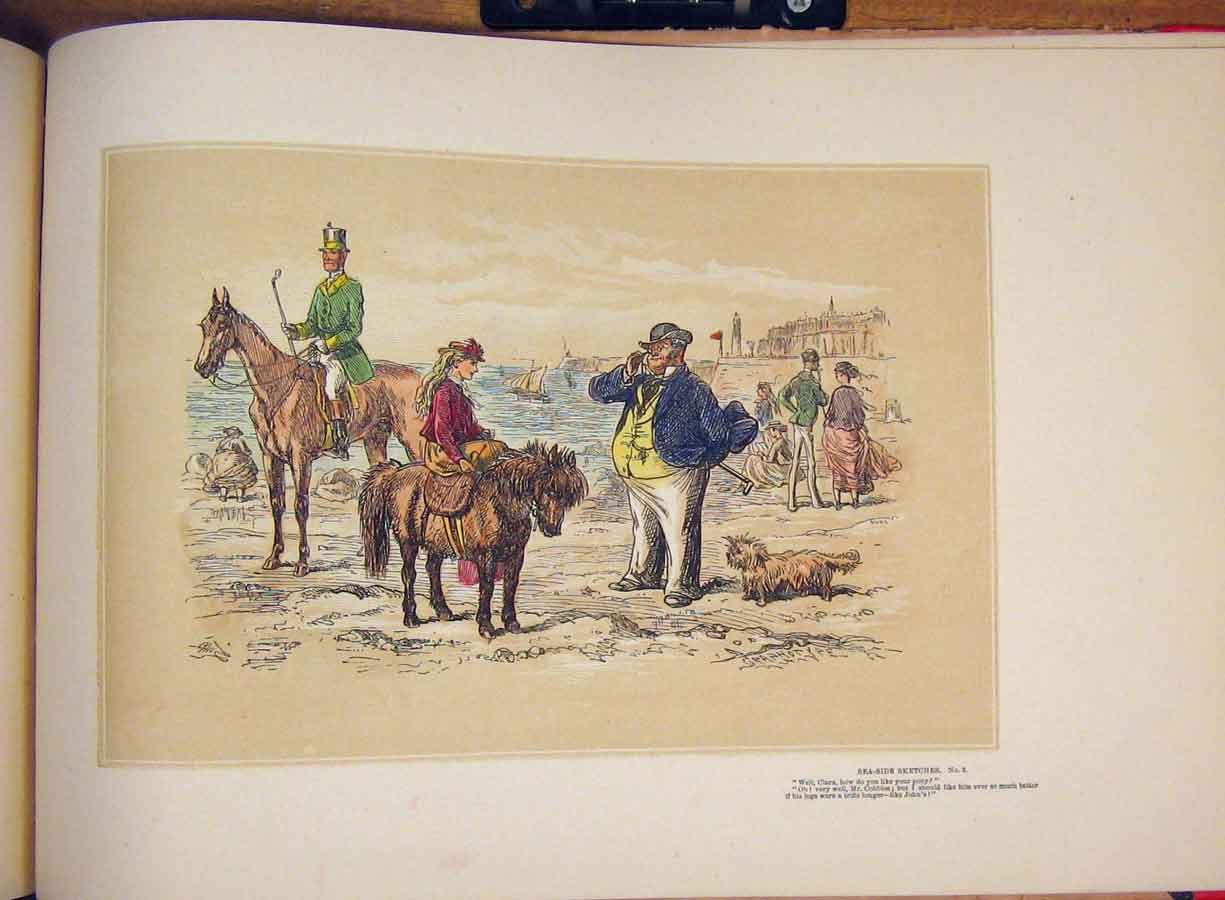 [Print Sketch Hand Colored Drawing Sea Side Donkey Hores Lady 415711 Old Original]