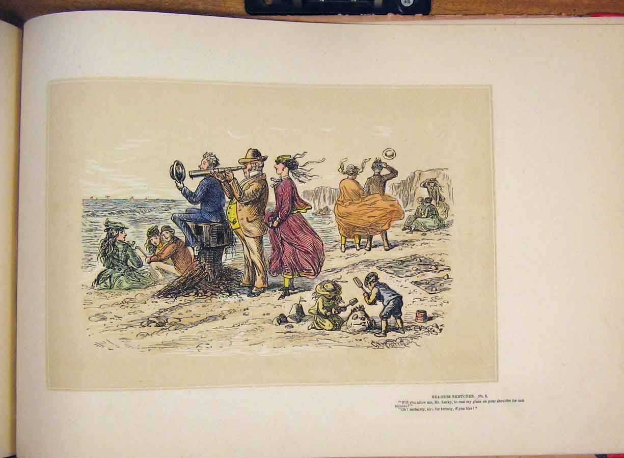 [Print Hand Colored Drawing Sea Side Sketch Family Telescope 435711 Old Original]
