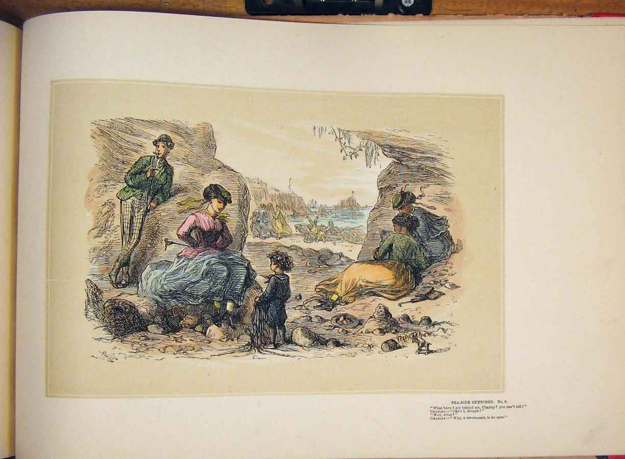 [Print Sea Side Scene Mother Children Family Hand Colored Art 445711 Old Original]