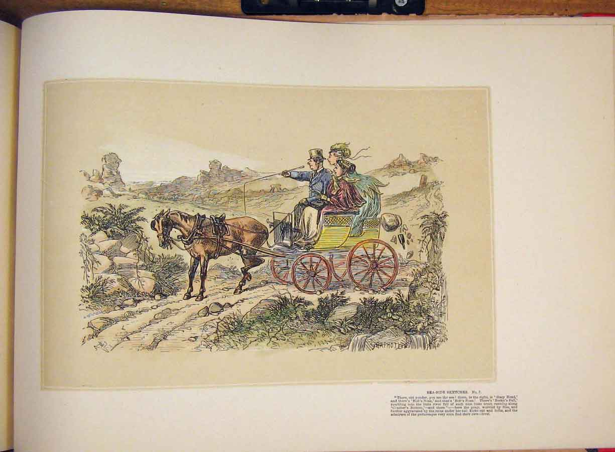 [Print Town City Metting Horse Carriage Donkey Colored Drawing 455711 Old Original]
