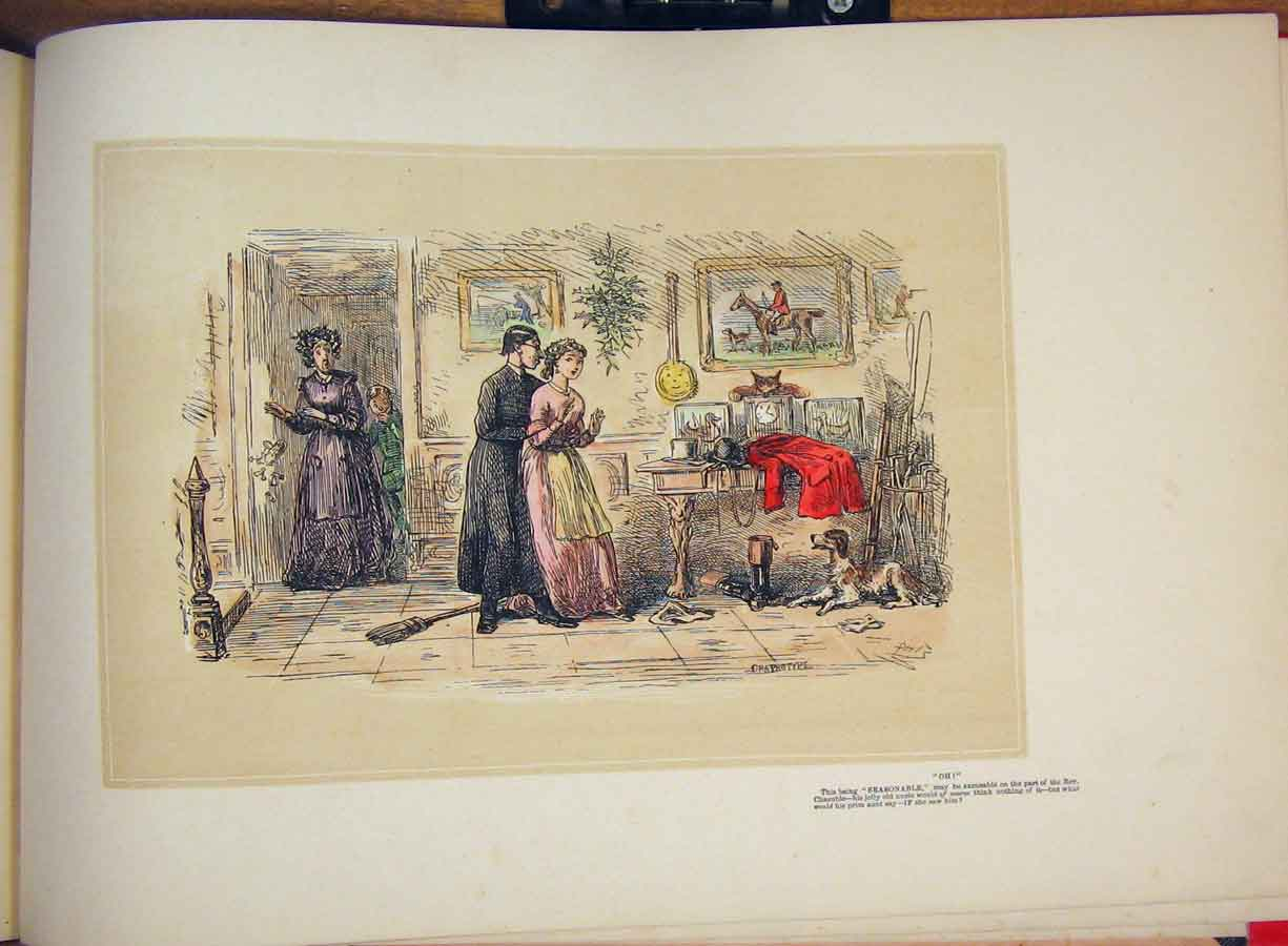 [Print Hand Colored Drawing Rev Dog Mother Sitting Room Art 505711 Old Original]