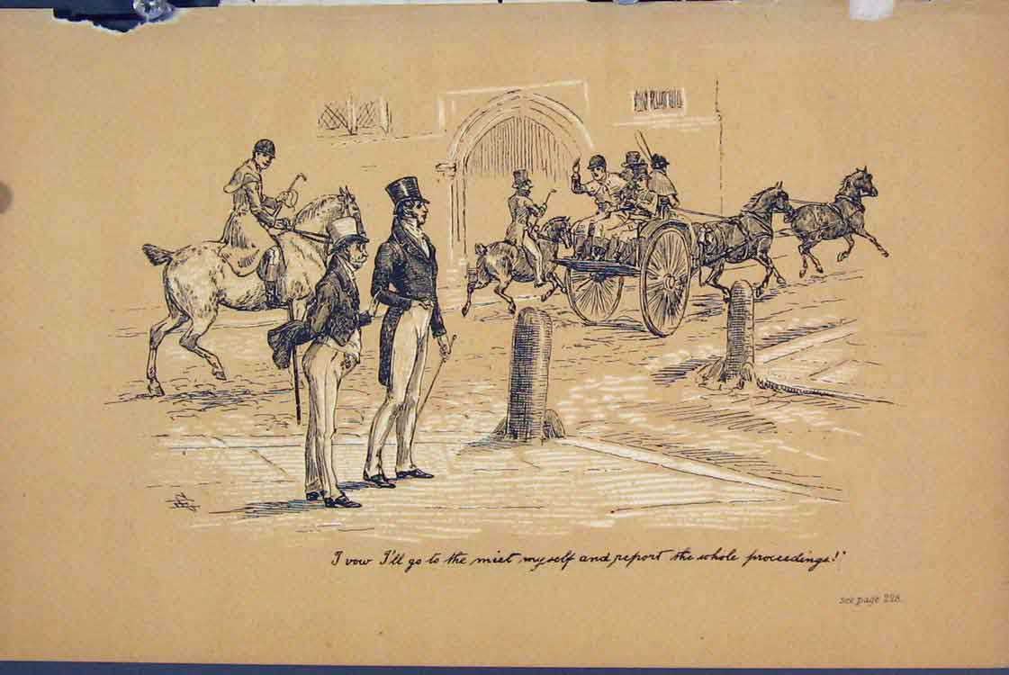 Print Street Scene C1881 Horse Cart Men Watching 235731 Old Original