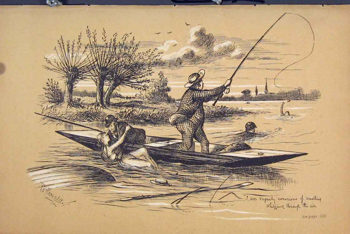 Print C1881 Men Fishing Rescuing People Water Capsized 275731 Old Original