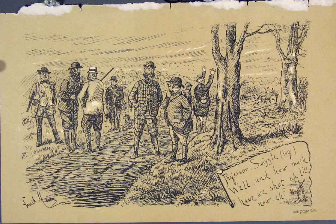 Print C1881 Professor Swiggle Hunting Country Lane 305731 Old Original