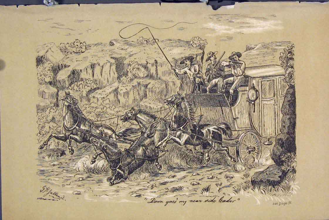 Print C1881 Men Shooting Horse Falling Coach 335731 Old Original