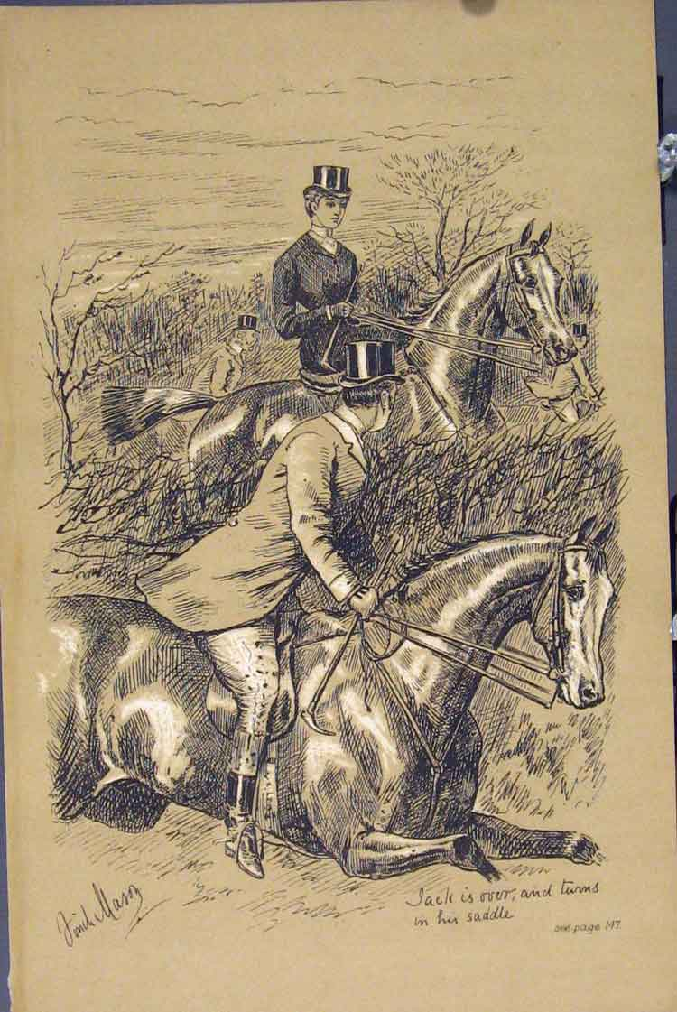 Print C1881 Horses Man Woman Fence Country Scene 375731 Old Original